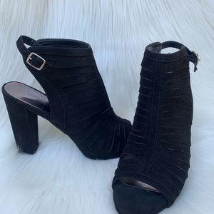 Carbos Black Peep Toe Faux Suede Chunky Heel 9.5